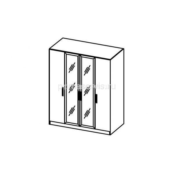 Наоми, ЛДСП Шкаф 4х дверный с зеркалом схема