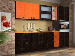 кухня венге-оранж фрезерованный